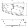 Асиметрична ванна CERSANIT Virgo L/R 150x90